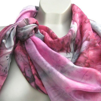 """Pink Silk Scarf, Hand Dyed Silk Head Scarf, Large Scarf in Pink and Grey Silk, 34"""" x 36"""" Accessories, Women"""