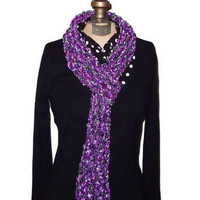 Handmade Knitted Violet Ribbon Scarf