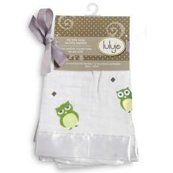 Mary Meyers Lulujo Cotton Security Blankets Green Owl