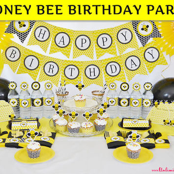 Bumble Bee Party Decoration / Bumble Bee Birthday Party / Yellow Honey Bee Party Kit