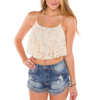 Tori Lace Crop Top - Ivory