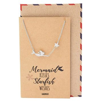 Lana Mermaid And Starfish Necklace For Women, Silver Tone, Comes With Inspirational Quote