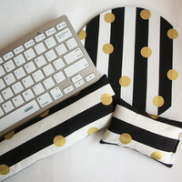 metallic gold Keyboard rest and / or WRIST REST for MousePads  - Pick your own pattern - mouse pad set coworker gift Desk Accessories