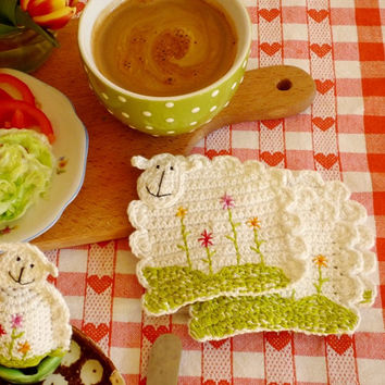 Crochet Sheep Coasters with Embroidered Flowers- set of 2