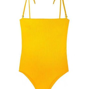 MAYLANA Adrienne Golden Ribbed One Piece