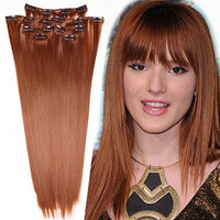 """14"""" 100% Remy Clip In Hair Extensions Auburn"""