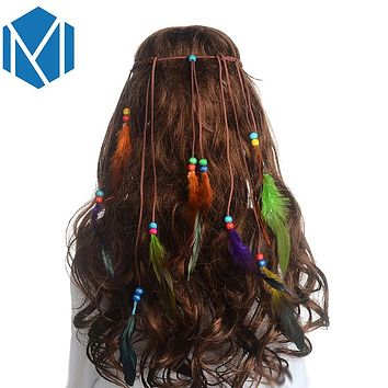 M MISM Girls Popular Feather Headband Festival Hippie Hair Band Accessories for Women Boho Styling Peacock Bohemian  New Headdress