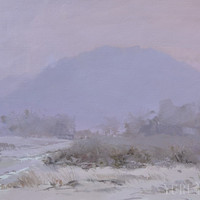 Winter landscape painting of mountains - White painting of Nature Impressionist Contemporary Art