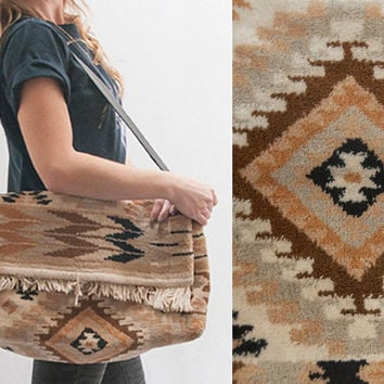 Southwestern Crossbody Laptop Messenger Bag | Large Vintage Boho Fringed Carpet Tapestry Bag Kilim Hippie Handbag Laptop Bag Tote Satchel