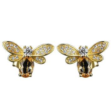 1 Pair Hot Yellow   Bees Stud Earrings New Women Fashion Animals Gold Color Chain Earrings Jewelry