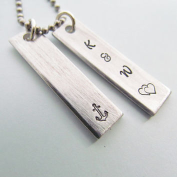 Couples Necklace 2 Tag Hand Stamped Jewelry Charm Aluminum Personalized Initials Stainless Steel Chain Kids Names