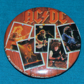 Vintage 80s AC/DC Fly On The Wall Band Pictures Button Pinback Badge Pin