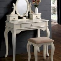 Bedroom Makeup Vanity Set With Traditional Design Vanity Table, Mirror And Stool In White Finish.