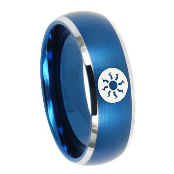 10mm Magic The Gathering Dome Brushed Blue 2 Tone Tungsten Men's Band Ring