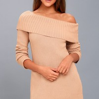 Like A Monday Blush Pink Off-the-Shoulder Sweater Dress