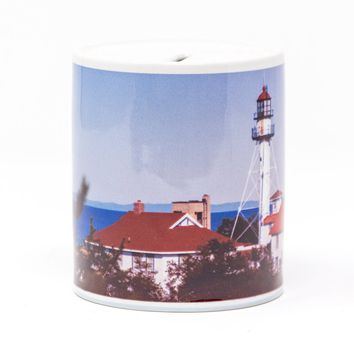 Whitefish Point Michigan Lighthouse Coin Bank, Ceramic
