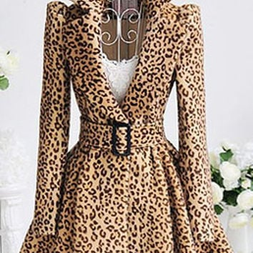 Turn-Down Collar Long Sleeve Leopard Print Belted Coat