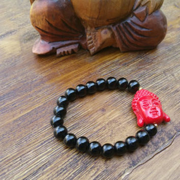 Original Collection- Red Buddha Charm/Black Beaded Hand Made Bracelet