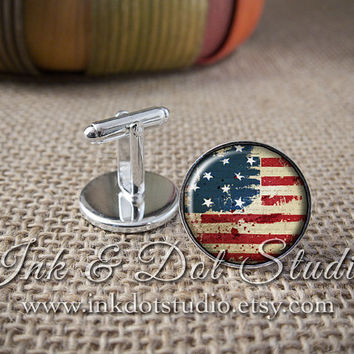 American Flag Cuff Links, Patriotic Cufflinks, Gift for Man, Men's Cuff Links