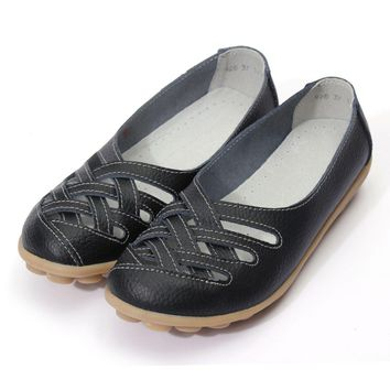 Hollow Out Breathable Women Fashion Leather Sandals Gladiator Flats Shoes