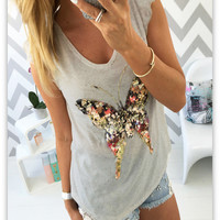 Sequins Casual Tank Shirts