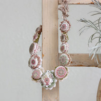 Pastel crochet necklace, fiber jewelry with fabric buttons, green pink cream, OOAK