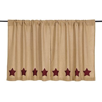 Burlap with Burgundy Stars Tier Curtains 36""
