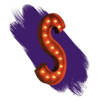 """36"""" Letter S Lighted Vintage Marquee Letters (Rustic)"""