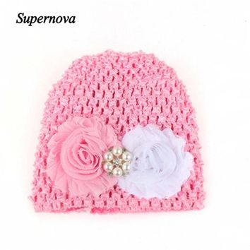 Baby Hats For Girls Winter Flower Knitted Hat Newborn Skullies Beanie Photography Props Drop Shipping High Quality H45