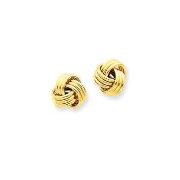 14k Yellow or White Gold Ridged Love Knot Post Earrings