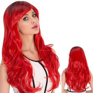 Long Side Bang Wavy Red Gradient Cosplay Synthetic Wig