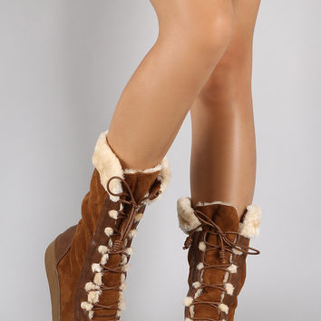 Suede Faux Fur Cuff Mid Calf Snow Boots