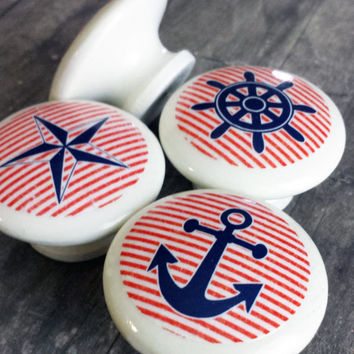 Handmade Nautical Birch Wood Knobs, Set of 4 Marina Drawer Pulls, Anchor, Ship, Nautical Star, Helm, Kids room, Beach Decor, Nursery Decor