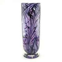 Hand Blown Art Glass Vase - Purple and Black