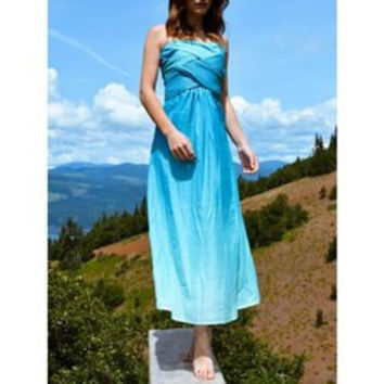 Chic Strapless Sleeveless Ombre Women's Maxi Dress