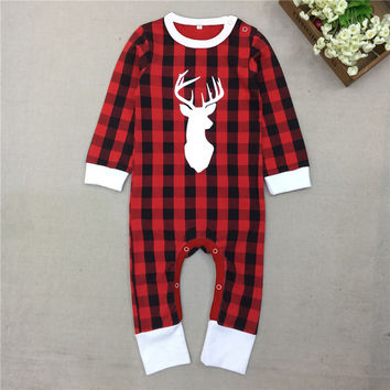 New Arrived Baby Girls Boys Reindeer Cotton Romper Girls Christmas Jumpsuit Autumn Spring 2016 0-5Years 30F