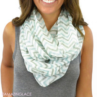 East Point Ivory Chevron Infinity Scarf