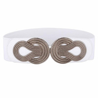 Sexy Dress Belts for Women Ladies Girls Fashion Wide Metal Buckle Stretchy Elastic Waist Belt Waistband Belts for Women