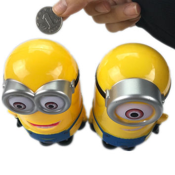 DAY DAY FUN 2017 Minion Lovely 3D Minions Cartoon Figures Piggy Bank Money Box Coin Cent Penny Children Toy Baby Toy Piggy Bank