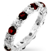 Elizabeth Ruby Red Eternity Stackable Ring | 4ct | Cubic Zirconia | Sterling Silver