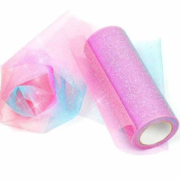 Rainbow Glitter Tulle Rolls for Table Runner Chair Sash Bow Tutu Skirt Wedding Party Gift Ribbon unicorn birthday decoration