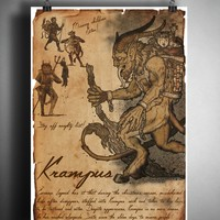 Krampus christmas art, urban legend bestiary cryptozoology science journal art, monsters and folklore,
