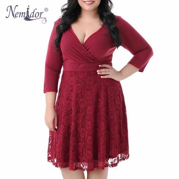 Nemidor Women Vintage 3/4 Sleeve Casual Lace Patchwork A-line Dress Autumn V-neck Plus Size 9XL Party Midi Swing Dress
