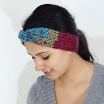 SALE Boho Headband Knitted Head Band Boho Hair Accessory Boho Ear Warmer Boho Earwarmer Boho Knit Ear Warmer Boho Colors Headband Accessorie