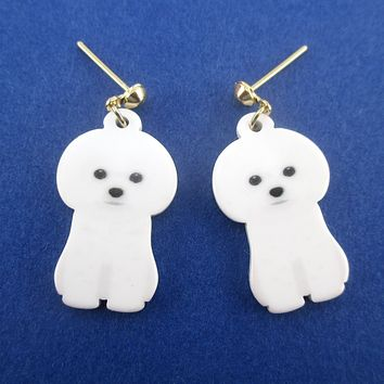Adorable White Maltese Bichon Frise Puppy Shaped Stud Drop Earrings for Dog Lovers