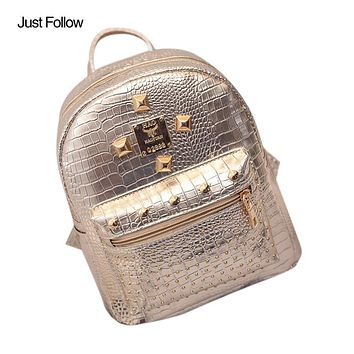 Women Washed PU Leather Backpack Female School Book Shoulder Bag Women Gold Velvet Small Rucksack Backpack Lady Bag