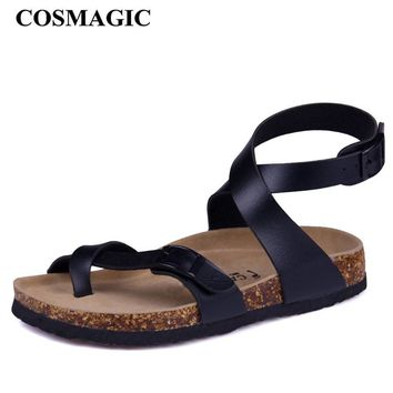 Fashion Cork Sandals 2017 New Women Casual Summer Beach Gladiator Buckle Strap Sandals