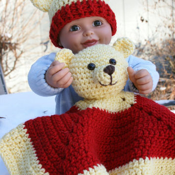 Baby Bear afghan pooh inspired crochet red and yellow afghan blankie blanket buddie