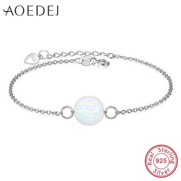 White Fire Opal Bracelet Silver 925 Chain Natural Stone Ball Charms Bracelets Bangles For Women Grils Femme Bracelets Jewellery
