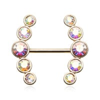 Set Of Sparkle Golden Ray Multi-Gem Nipple Ring Body Jewelry Nipple Rings 14ga Surgical Steel